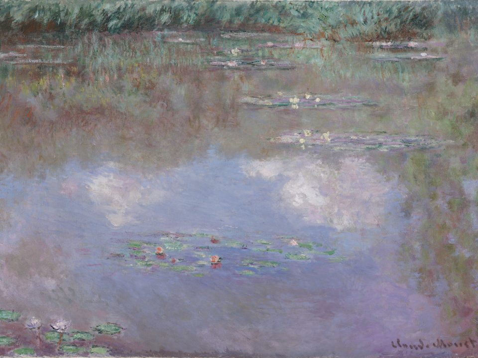 claude monet water lilies with clouds